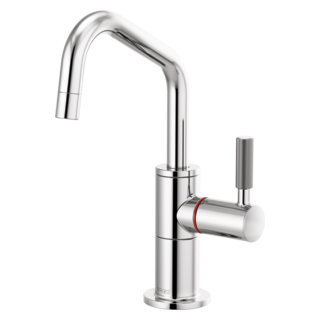 Instant Hot Faucet With Angled Spout And Knurled Handle